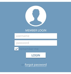 memeber login page template blue vector image vector image