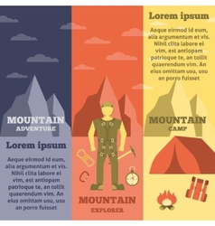 Mountain climber equipment banners set vector