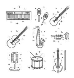 music icons line art set instrument design vector image