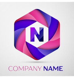 N letter colorful logo in the hexagonal on grey vector