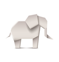 Origami elephant isolated on white vector