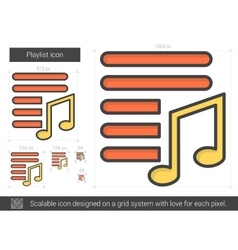 Playlist line icon vector