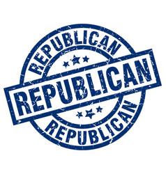 Republican blue round grunge stamp vector