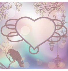 retro background with lanterns and heart frame vector image