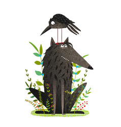 Scary wolf and funny crow in forest vector