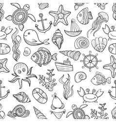 seamless pattern of marine life vector image vector image