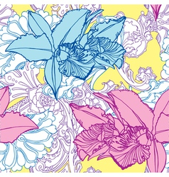 Seamless pattern with flowers orchids vector image vector image