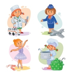 Set icons of small children different vector