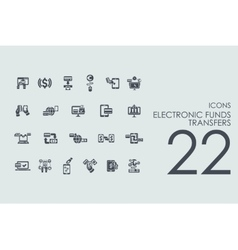 Set of electronic funds transfers icons vector