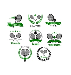 Tennis emblems banners symbols and icons vector image vector image