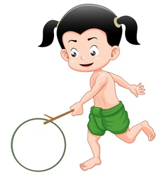 Thai boy playing toy vector image vector image