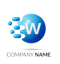 W letter splash logo blue dots and circle bubble vector