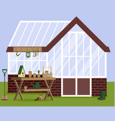 With greenhouse and gardening vector