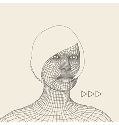 Woman Head of the Person from a 3d Grid vector image