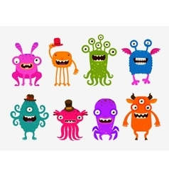 Fun cute cartoon monsters set icons vector