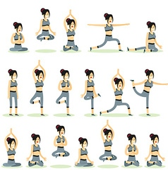 Women posing pose yoga vector