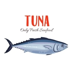 Tuna fish in cartoon style vector