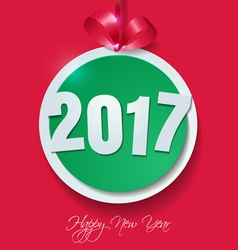 Happy new year 2017 cut paper on pink background vector