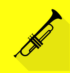 Musical instrument trumpet sign black icon with vector