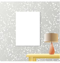 Printed grey wallpaper with white blank vertical vector