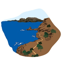 Rock cliff seaview vector