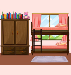 Bedroom with bunkbed and closet vector