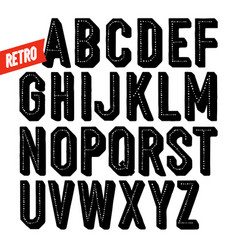 handmade retro font black dot inline condensed vector image