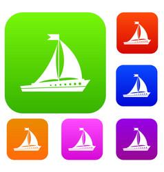 Sailing ship set collection vector