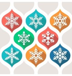 Set of flat colored simple winter snowflakes vector