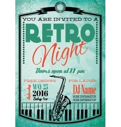 retro poster for billboard with saxophone and vector image