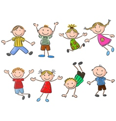 Cartoon many kids jumping together and happy vector