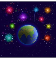 Earth and firework vector