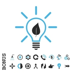 Eco light bulb flat icon with bonus vector