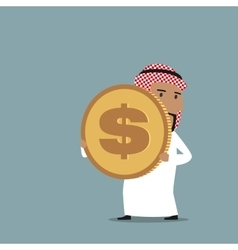 Arabian businessman carrying a golden dollar coin vector