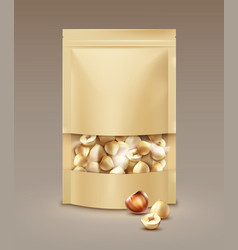 bag full of hazelnuts vector image