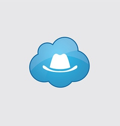 Blue cloud classic hat icon vector