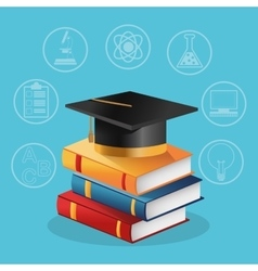 Books graduation cap and icon set design vector image