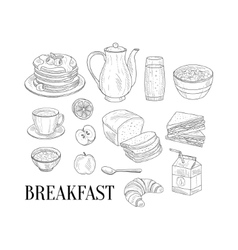 Breakfast Related Isoated Food Items Hand Drawn vector image vector image