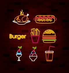 burger and fast food set of neon sign on brick vector image