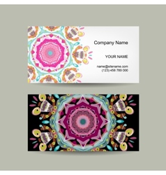Business card design Ornate background vector image