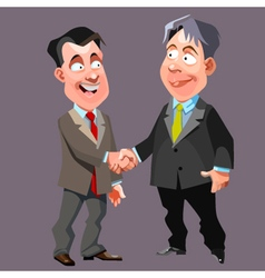 Cartoon joyful men in suits and ties shake hands vector