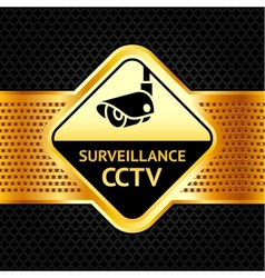 Cctv symbol on a metallic perforated background vector image