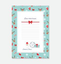 Christmas letter from santa claus template vector