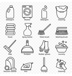 cleaning wash line icons washing machine sponge vector image