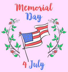 Doodle memorial day colorful style vector