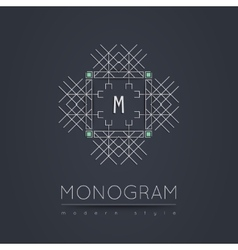 Elegant linear abstract monogram logo design vector image