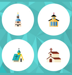 Flat icon building set of church architecture vector