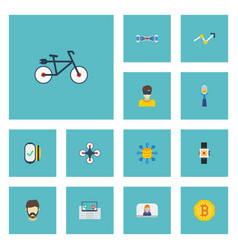 Flat icons vlog technology money and other vector