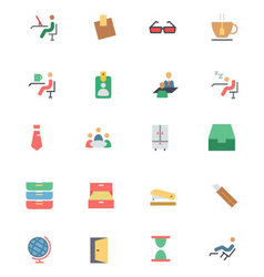 Flat Office Icons 4 vector image