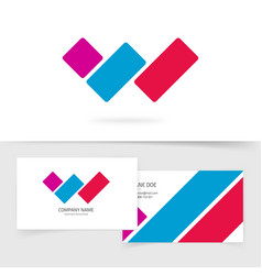 letter w logo concept with business card vector image vector image